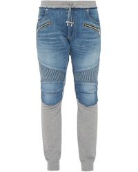 13408f61 Balmain Biker Sweatpants in Black for Men - Lyst