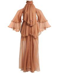 Maria Lucia Hohan - Oksanna Halterneck Silk-mousseline Gown - Lyst
