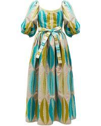 Marta Ferri Puff-sleeve Abstract-jacquard Dress - Green