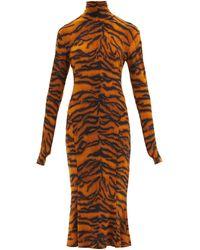 Norma Kamali タートルネック タイガー ジャージードレス - ブラウン