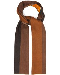 Maison Kitsuné Fox Head Striped Wool Blend Twill Scarf - Multicolor