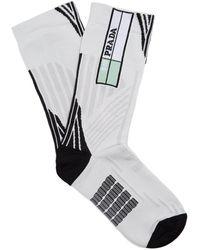 Prada - Striped-geometric Jacquard Socks - Lyst