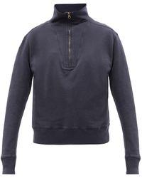 Nili Lotan Bentley High-neck Cotton-jersey Sweatshirt - Blue
