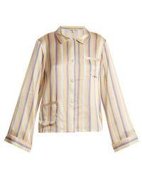 Morgan Lane - Ruthie Striped Silk Pyjama Top - Lyst