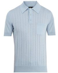 Prada - Perforated-knit Polo Shirt - Lyst