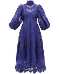 Zimmermann Robe en organza de lin brodé Brightside - Bleu