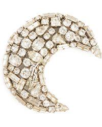 Saint Laurent - Moon Crystal-embellished Brooch - Lyst