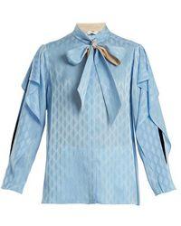 Fendi - Tie-neck Ruffle-trimmed Silk Blouse - Lyst