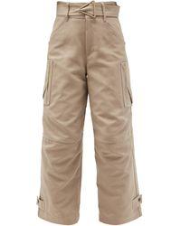 Bottega Veneta High-rise Belted Cotton-canvas Cargo Trousers - Natural