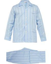 Derek Rose Pyjama en coton à rayures en jacquard Lingfield - Bleu