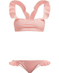 Fendi Ruffled Striped Bikini - Multicolour