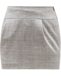 Alexandre Vauthier Prince Of Wales-check Wool-blend Skirt - Gray