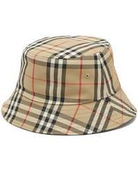 Burberry Vintage-check Cotton-blend Bucket Hat - Natural