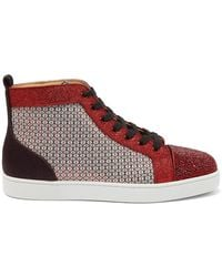 Christian Louboutin Louis Strass Crystal-embellished High-top Sneakers - Multicolour