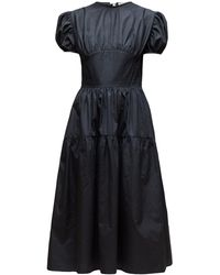 Cecile Bahnsen Tia Bow Back Tiered Cotton Poplin Dress - Black