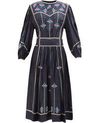 Isabel Marant キャロライン フローラル シルクドレス - ブラック