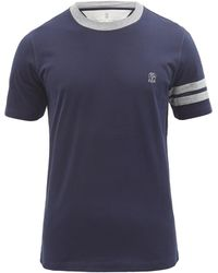Brunello Cucinelli ロゴ コットンtシャツ - ブルー