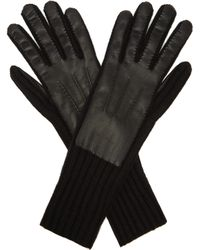 Burberry Leather-panelled Cashmere Gloves - Black