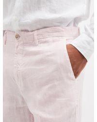 120% Lino Pantalon de costume ajusté en calico de lin - Rose