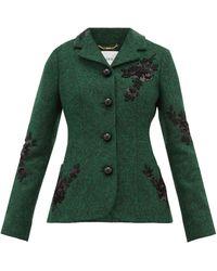 Erdem Benjamin Embroidered Felt Jacket - Green