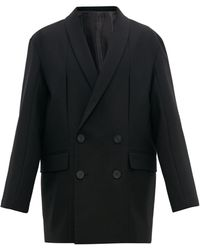 Wooyoungmi Oversized Double Breasted Wool Blazer - Black
