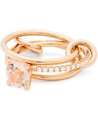 Spinelli Kilcollin - Sonny 18kt Rose Gold, Diamond And Morganite Ring - Lyst