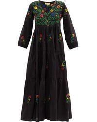 Muzungu Sisters Frangipani Floral-embroidered Organic-cotton Dress - Black