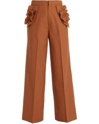 MUVEIL - Ruffle-trimmed High-rise Trousers - Lyst