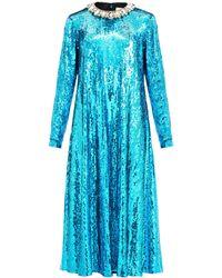 Gucci クリスタルカラー スパンコールドレス - ブルー