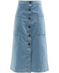 Raey Patch-pocket A-line Denim Skirt - Blue