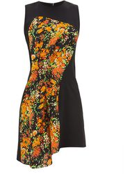 Atlein Floral-print Panel Crepe Dress - Black
