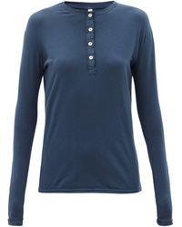 Domi Organic-cotton Blend Jersey Henley Pajama Top - Blue