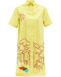 Kilometre Paris Dolpa Meets Miami Embroidered Cotton Shirt Dress - Yellow