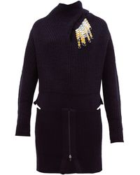 Toga Detachable-brooch Ribbed Wool-blend Sweater - Blue