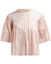 Étoile Isabel Marant Algar Embroidered Cotton Top - Pink