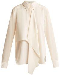 Stella McCartney - Draped-front Silk-crepe Shirt - Lyst