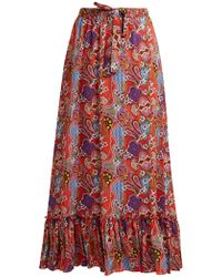 Etro - Abstract Floral Print Ruffle Trim Cotton Skirt - Lyst