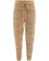 LoveShackFancy Olvera Stripe-jacquard Knit Track Trousers - Yellow