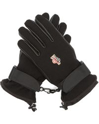 3 MONCLER GRENOBLE Logo Patch Twill And Leather Ski Gloves - Black