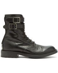 Saint Laurent Double-buckled Leather Combat Boots - Black