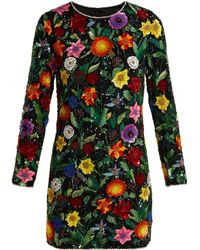 Ashish - Magic Flower Embellished Silk Georgette Mini Dress - Lyst