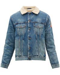 Polo Ralph Lauren Flag Patch Faux Shearling Denim Jacket - Blue