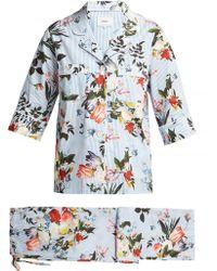 Erdem Delanie Floral Print Cotton Pajamas - Blue
