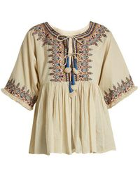 Velvet By Graham & Spencer - Dahlia Embroidered Cotton Top - Lyst
