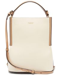Burberry Peggy Leather Bucket Bag - Natural