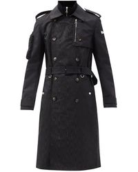 Marine Serre First-aid Survival Moiré And Shell Trench Coat - Black