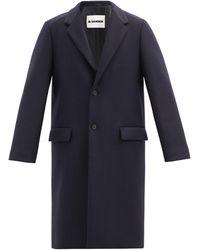 Jil Sander Pardessus en laine vierge à boutonnage simple - Bleu