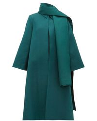 Emilia Wickstead Ellis Stretch-cloqué Opera Coat And Scarf - Green