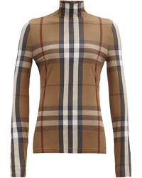 Burberry Roll-neck Heritage-checked Jersey Top - Brown