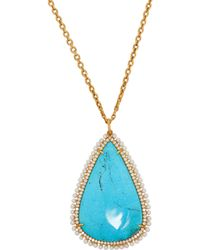 Irene Neuwirth Diamond, Turquoise & Pearl Pendant Necklace - Blue